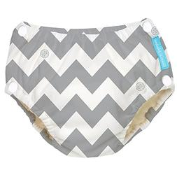 Charlie Banana Reusable Easy Snaps Swim Diaper, Grey Chevron