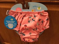 iPlay Reusable Swim Diaper - Pink Parasoles - 12 Months - Sn
