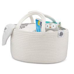 Parker Baby Rope Diaper Caddy - Nursery Storage Bin and Car