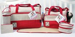 SoHo Designs - Royal Red Diaper Bag with Changing Pad 6 piec