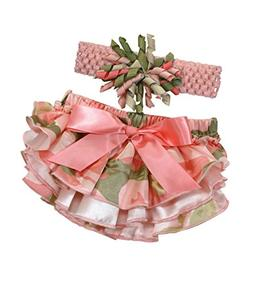 Stephan Baby Ruffled Diaper Cover and Curly Bow Headband Set