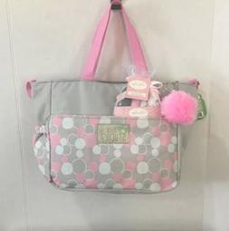 Small Baby Girl Diaper Bag Light Grey Pink White Dots  + Was