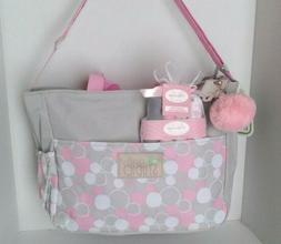 Small Baby Girl Diaper Bag + Washcloths + Accessory Grey Pin