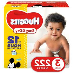 HUGGIES Snug & Dry Baby Diapers Size 3 fits 16-28 LBS 222 Co