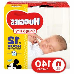 HUGGIES Snug & Dry Diapers Newborn 140 Count GIGA JR PACK Pa