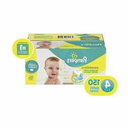 Diapers Size 4, 150 Count - Pampers Swaddlers Disposable Bab