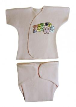 Sweet Baby Girl Pink Diaper Cover and Shirt Set - 4 Preemie