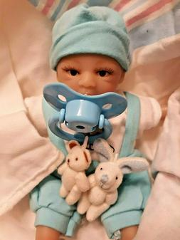 TINY MICRO PREEMIE BOY  8 INCH BABY W/ TINY RABBIT AND BOTTL