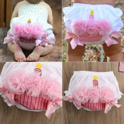 US Toddler Baby Girl Lace Ruffle Bloomer Nappy Underwear Pan