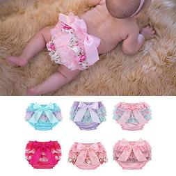 Toddler Baby Infant Girl Lace Ruffle Bloomers Nappy Underwea
