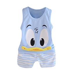 FEITONG 2Pcs Toddler Baby Girls Boys Cartoon Vest Tops Short