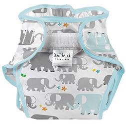 Kushies Baby Toddler Waterproof Diaper Wrap, White Elephants