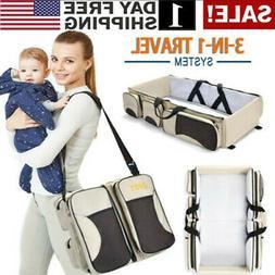 Large Capacity Diaper Tote Bag Portable Travel Bassinet and