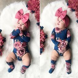 us baby newborn girl flower romper bodysuit