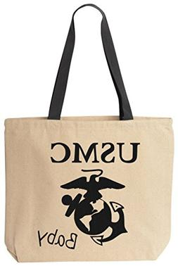 BeeGeeTees USMC Baby Reusabe Tote Bag Black Handle