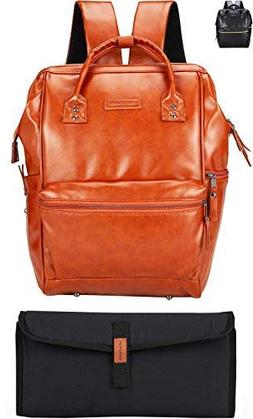Vegan Leather Baby Diaper Backpack Bag - Saddle Brown - Unis