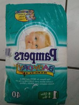 Vintage 1998 Pampers Baby Dry Stretch Diapers Size #1, 40ct