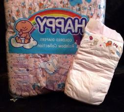 Vintage Happy Brand Pink Diaper Rainbow Collection Sz Large