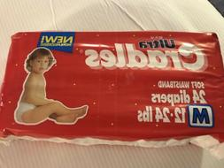 Vintage Plastic Thick Medium Diapers Full Pack Sealed