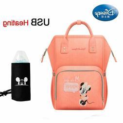 Disney Waterproof Diaper Large Baby Bag USB Bottle Travel Ba