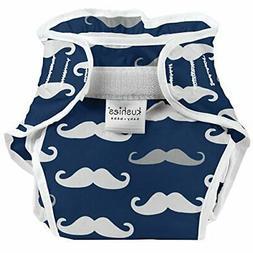 Kushies Baby Infant Waterproof Diaper Wrap, Navy Mustache