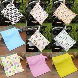 Waterproof Zip Wet Dry Bag Baby Cloth Diaper Nappy Pouch Reu