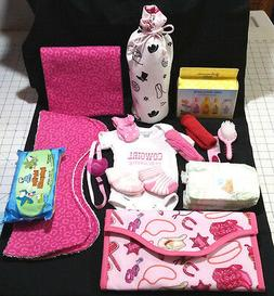 Western Theme Baby Girl Shower Diaper Bag Set w/tons of stuf