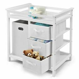 White Infant Baby Changing Table 3 Basket Hamper Diaper Dayc