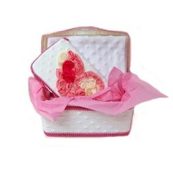 White minky with pink chiffon heart 3 piece set baby basket