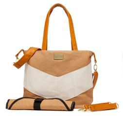 Chanasya White Tan Cute Baby Diaper Bag, Changing Pad & Stro
